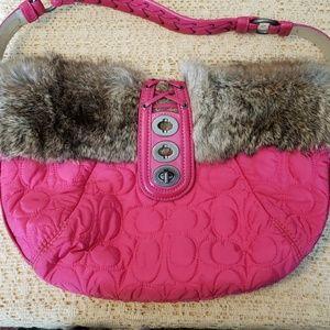Coach hot pink rabbit fur bag